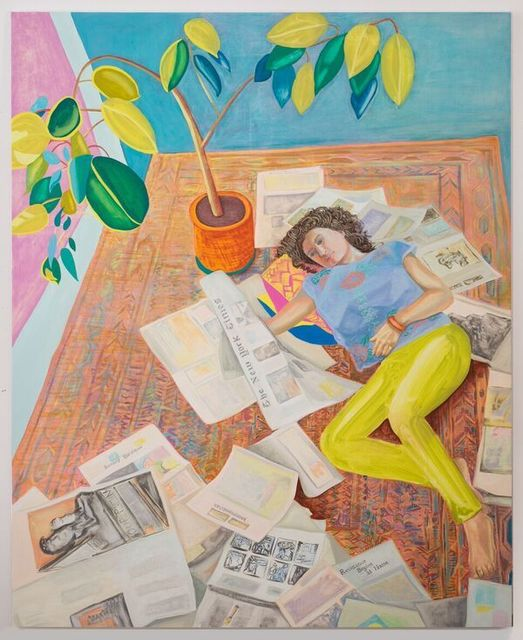 Aliza Nisenbaum, 'Kayhan reading the New York Times (Resistance Begins at Home) ', 2017, The FLAG Art Foundation