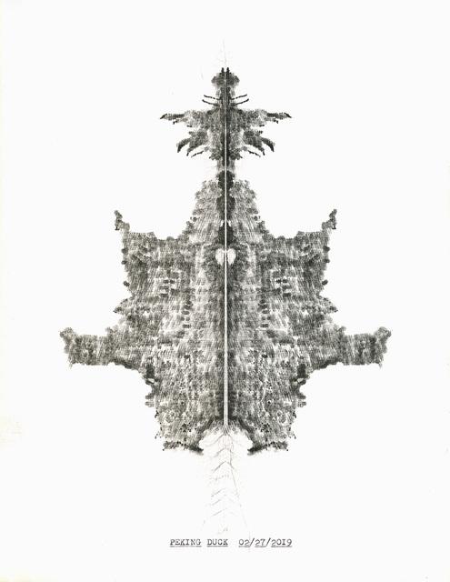 """, '""""Peking Duck"""" in the series """"Typewriter Drawings"""",' 2019, Catharine Clark Gallery"""