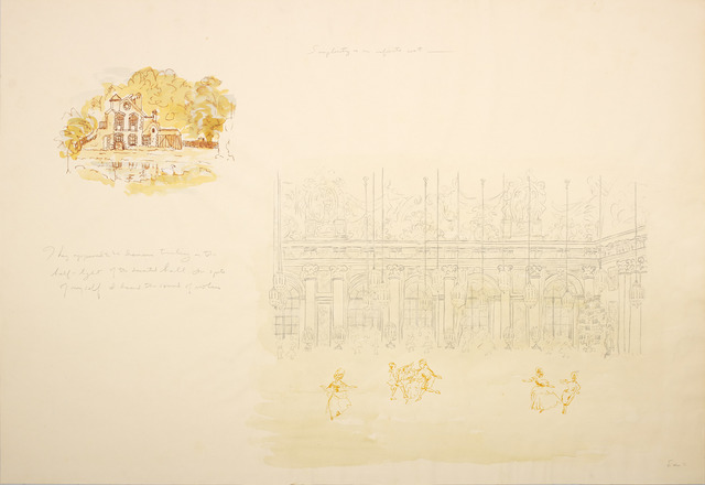 ", 'Scene from a Ball (stage set drawing from ""Before the Revolution""),' 1978, Diane Rosenstein"