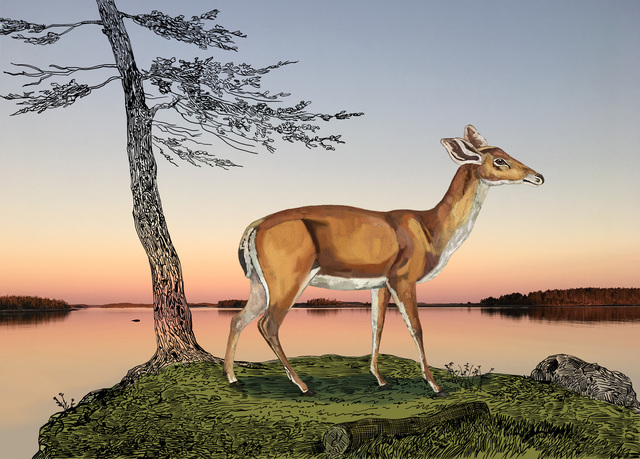 , 'Deer by Calm Water,' 2019, Studio 21 Fine Art