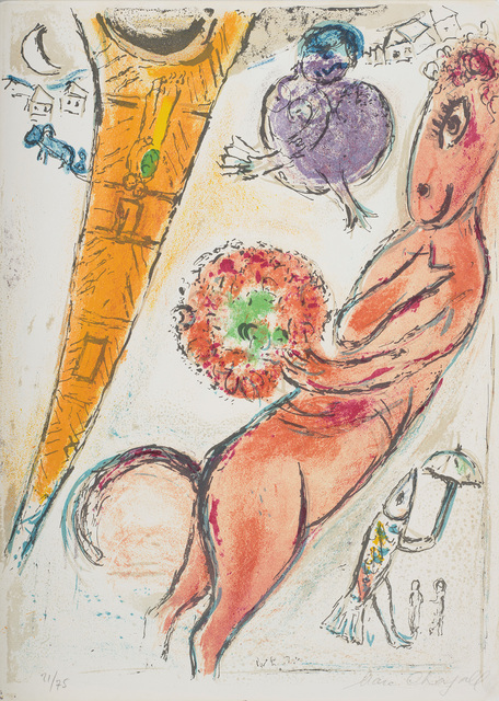 Marc Chagall, 'La Tour Eiffel à l'Ane (The Eiffel Tower and the Donkey)', 1954, Print, Lithograph in colours, on Arches paper, the full sheet., Phillips