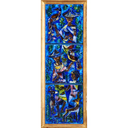 Three-tile untitled panel (Men with Birds and Goats), USA