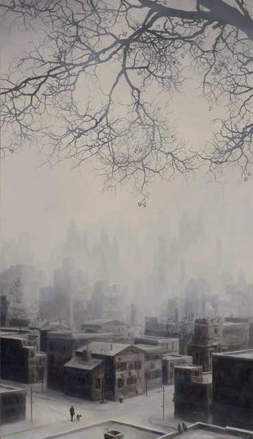 Brian Mashburn, 'Girl with Dog on a Snowy Street', 2021, Painting, Oil on canvas, Haven Gallery