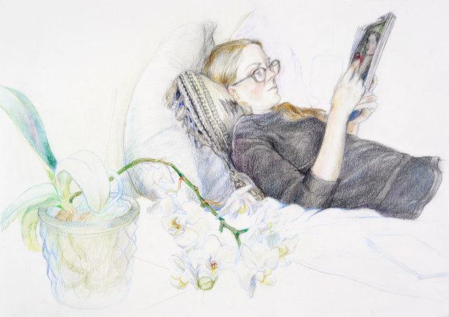 , 'Lisa lesend,' 2018, Galerie Kleindienst