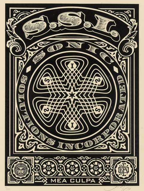 Shepard Fairey, 'SSI (Sonic Solutions Incorporated) Mea Culpa (black)', 2008, Print, Screenprint in colours, Forum Auctions
