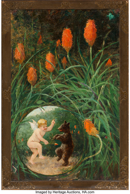 Frederick Stuart Church, 'Fairy and Bear in Garden', 1911, Painting, Oil on canvas, Heritage Auctions