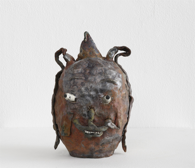 , 'Raku Shiny Rust Head With Special Smile,' 2018, Richard Heller Gallery