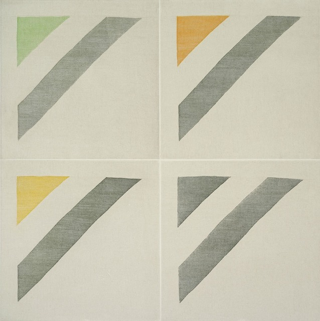 , 'TWILL WEAVE GRID (OXIDE GREEN, SPRING GREEN, INDIAN YELLOW, PERMANENT YELLOW LAKE,' 2015, Paulson Fontaine Press