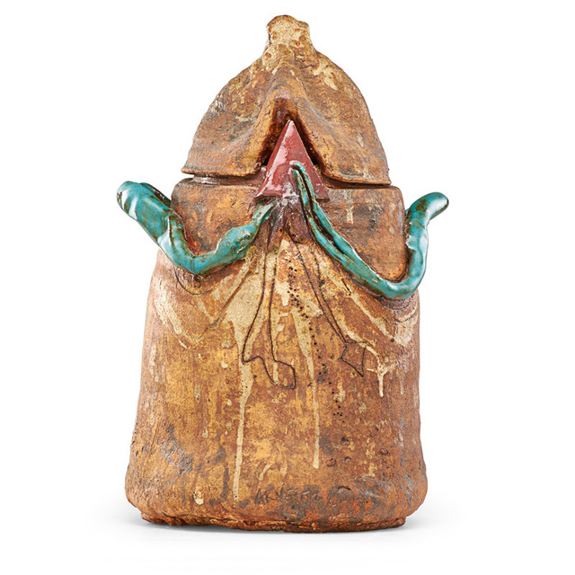 Robert Arneson, 'Large untitled covered jar (Green Coil and Red Triangle), California', 1964, Rago/Wright