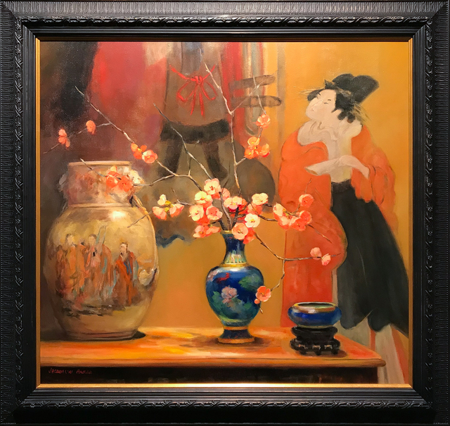 Jacqueline Fowler, 'Blue Cloisonne Vase with Japanese Screen', Wentworth Galleries