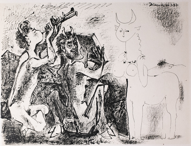 Pablo Picasso, 'Les Faunes Et La Centauresse (The Wildlife and The Centauresse), 1949 Limited edition Lithogrph by Pablo Picasso', 1949, White Cross