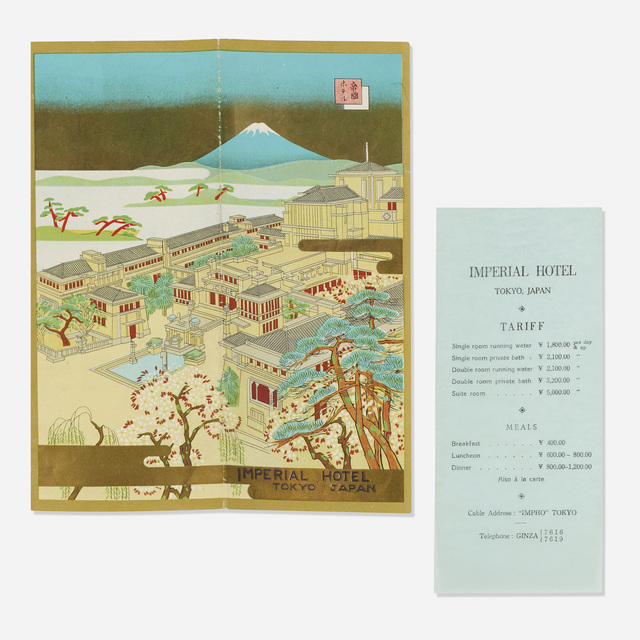 'Ephemera from the Imperial Hotel, Tokyo', c. 1950, Wright