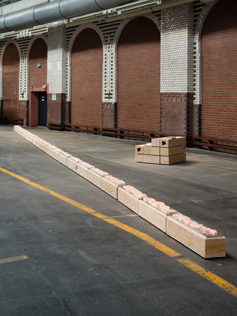 Installation view Gedankengang (am Laufenden Meter) ceramic, wood , acoustic foam 30000x26x28 cm, 2014