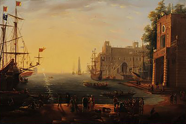 Circle of Claude Gellée, called Claude Lorrain, 'Port with Villa Medici', 17th Century, The Illustrated Gallery