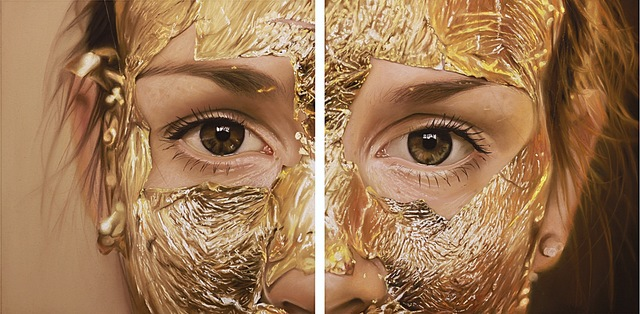 Oliver Jones, 'Untitled (Gold leaf face mask) Diptych', 2015, Cynthia Corbett Gallery