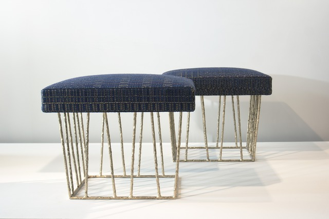 Anne and Vincent Corbiere, 'Cage Stools', 2012, Design/Decorative Art, Melted and Soldered Brass Structure, Hand Woven Fabric (Wool, Silk, Cotton, Linen, Gold Thread), Twenty First Gallery