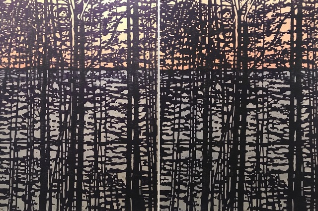 Eve Stockton, 'Woodland Landscape X - var. 4 & var. 5 (diptych)', 2020, Drawing, Collage or other Work on Paper, Woodcut, watercolor, Long View Gallery