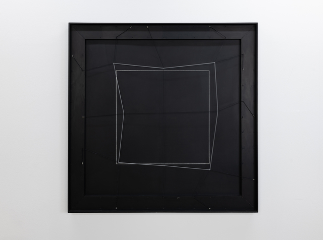 Gianni Colombo, 'spazio elastico - quadrato', 1974, Painting, Wood, lacquered, rubber cord, steel nails, Edition & Galerie Hoffmann