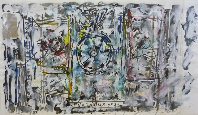 ", '""Genodoxus"" Oil, gouache, ink, felt tip pen on paper (two joined sheets), collage with silver foil, signed and dated 1982,' , HUNDERTMARKartFAIR"