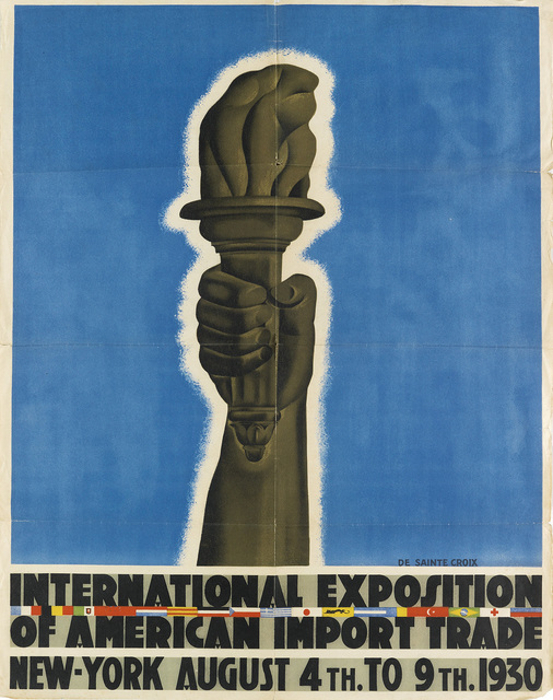De Sainte Croix, 'INTERNATIONAL EXPOSITION OF AMERICAN IMPORT TRADE', 1930, Swann Auction Galleries