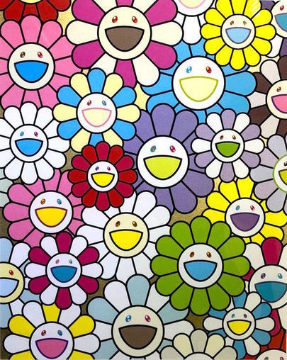 Takashi Murakami, 'A Little Flower Painting: Yellow, White and Purple Flowers', 2018, Vogtle Contemporary