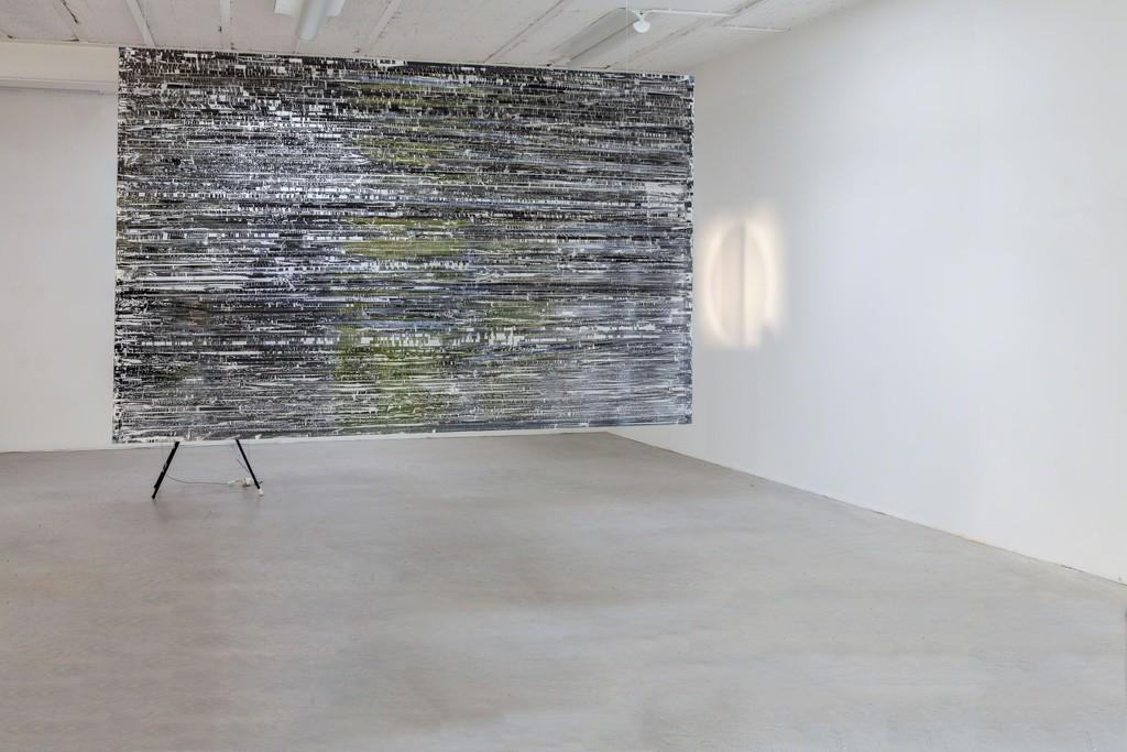 "Jens Standke, exhibition view: ""On/Off: X-Files"", 2016   videotape, tape, aluminium, 210 x 130cm   image: ©dasesszimmer"