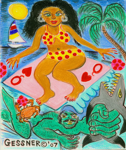 , 'Columbian Surf Goddess with Strongman,' 2007, Gold/Scopophilia*