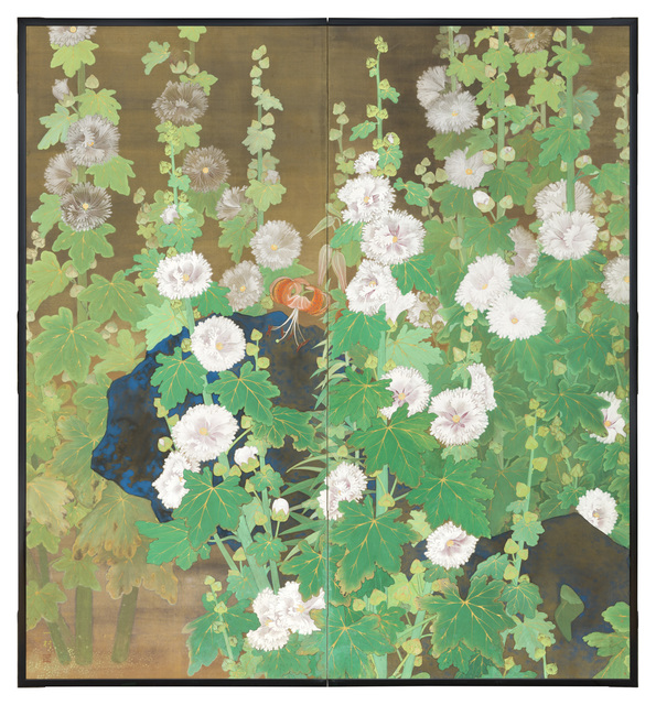 , 'Two-Panel Screen, Tachiaoi Flowers (T-3948),' Showa era (1912, 1926), 1930s, Erik Thomsen