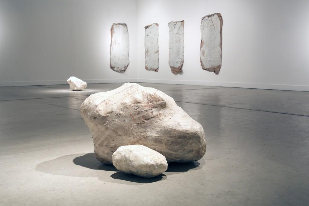 "Erika Ostrander, ""Hold My Bones"" (sculpture), 2016-present, studio trash, sausage casing and salt, dimensions variable"