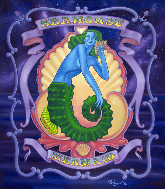 "molly mcguire, '""Seahorse Mermaid""', ca. 2018, Painting, Acrylic on re-purposed canvas, Parlor Gallery"