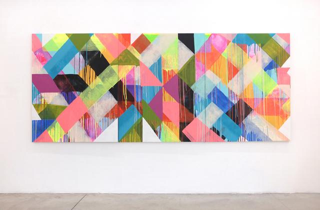 Maya Hayuk, 'HOLDING PATTERN', 2019, Painting, ACRYLIC ON BALTIC BIRCH PANEL ( 3 panels ), ALICE Gallery