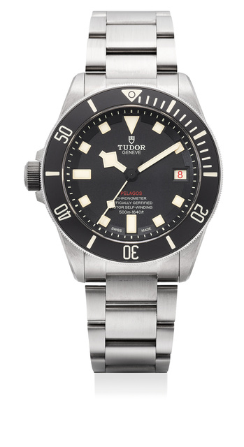 Tudor, 'A fine titanium and stainless steel diver's wristwatch with center seconds, date, left-handed crown, bracelet, guarantee and box', Circa 2018, Phillips