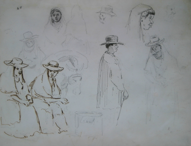 Camille Pissarro, 'Two seated women and a man in profile to the right, with studies of figures and  a mule carrying a load', 1852-1854, Stern Pissarro