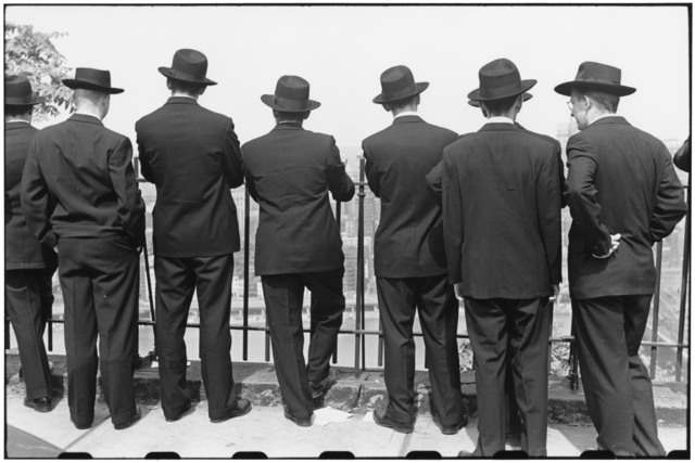 , 'Student priests view city from top of Monongahela Incline. Pittsburgh, Pennsylvania. September, USA.,' 1950, Magnum Photos