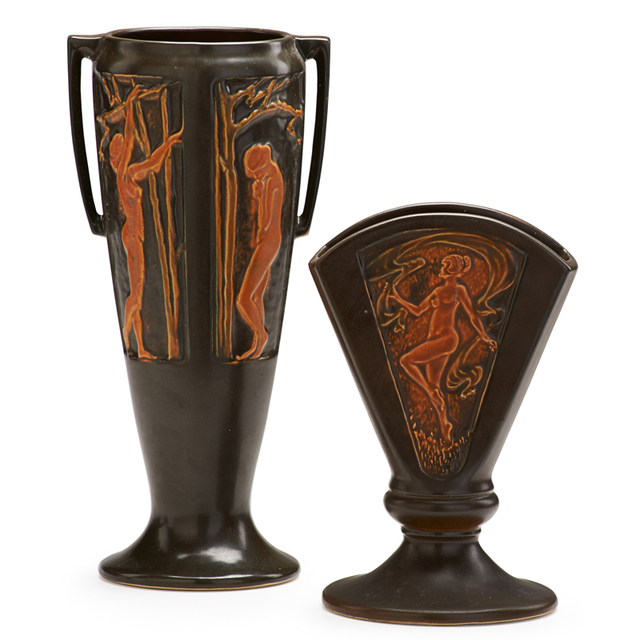 """Roseville Pottery, 'Two Brown Rosecraft Nude Panel Vases: One 8"""" Fan Vase And One Two-Handled 11"""" Vase, Zanesville, OH', 1920, Rago/Wright"""