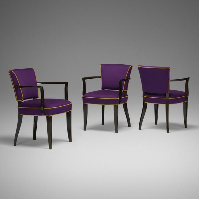 Eugène Printz, 'armchairs, set of three', c. 1935, Wright