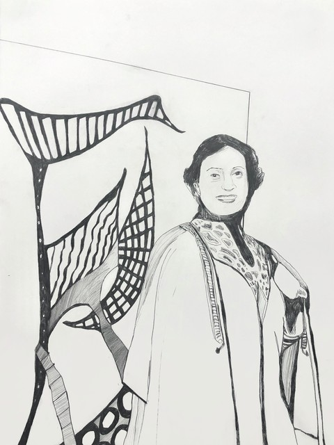 Whitney Bedford, 'Huguette Caland', 2020, Drawing, Collage or other Work on Paper, Graphite on Arches paper, Lebanese Red Cross Benefit Auction