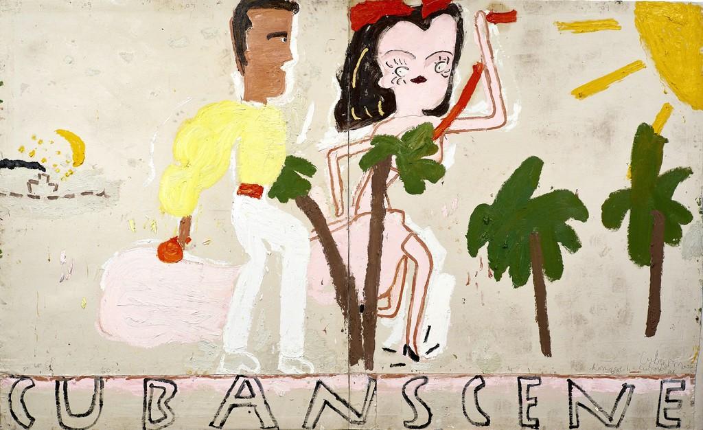 Rose Wylie Cuban Scene, Smoke, 2016 Oil on Canvas 208 x 340cm