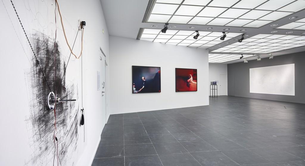 Installation view Frankfurter Kunstverein, 2018, with works by Jerry Galle, Trevor Paglen, Dries Depoorter and Noomi Ljungdell, Photo: N. Miguletz, © Frankfurter Kunstverein, Courtesy the artists and Metro Pictures, New York