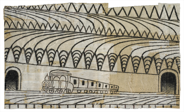 Martín Ramírez, 'Untitled (Triangle Landscape with Train)', ca. 1963, Ricco/Maresca Gallery