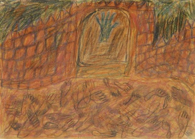 , 'Porte de l'oasis avec traces des pas dans le sable (Door of the oasis with foot prints in the sand),' 1947-48, Faessler & Ochsner