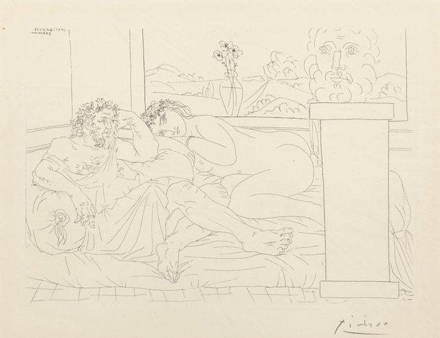 Pablo Picasso, 'Le repos du sculpteur IV, pl. 65, from La Suite Vollard', 1933, Print, Etching on Montval laid paper, Heritage Auctions