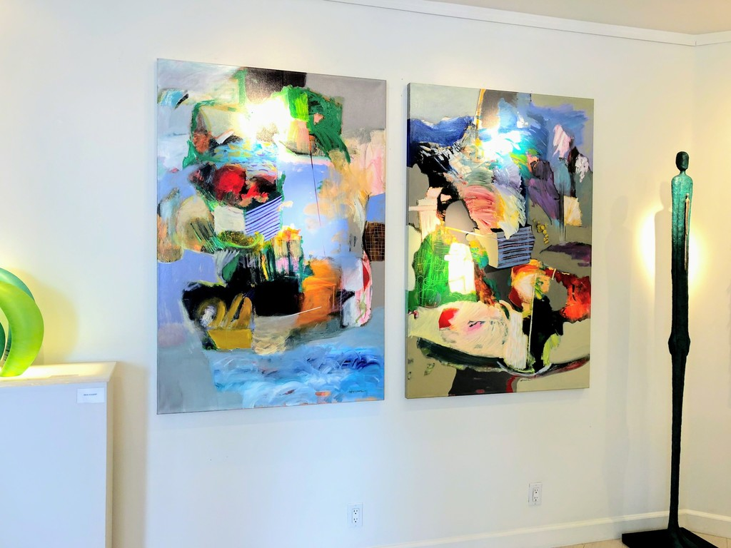 """""""Abstract 17"""" and """"Abstract 16"""" next to each another (both 40x59'')"""