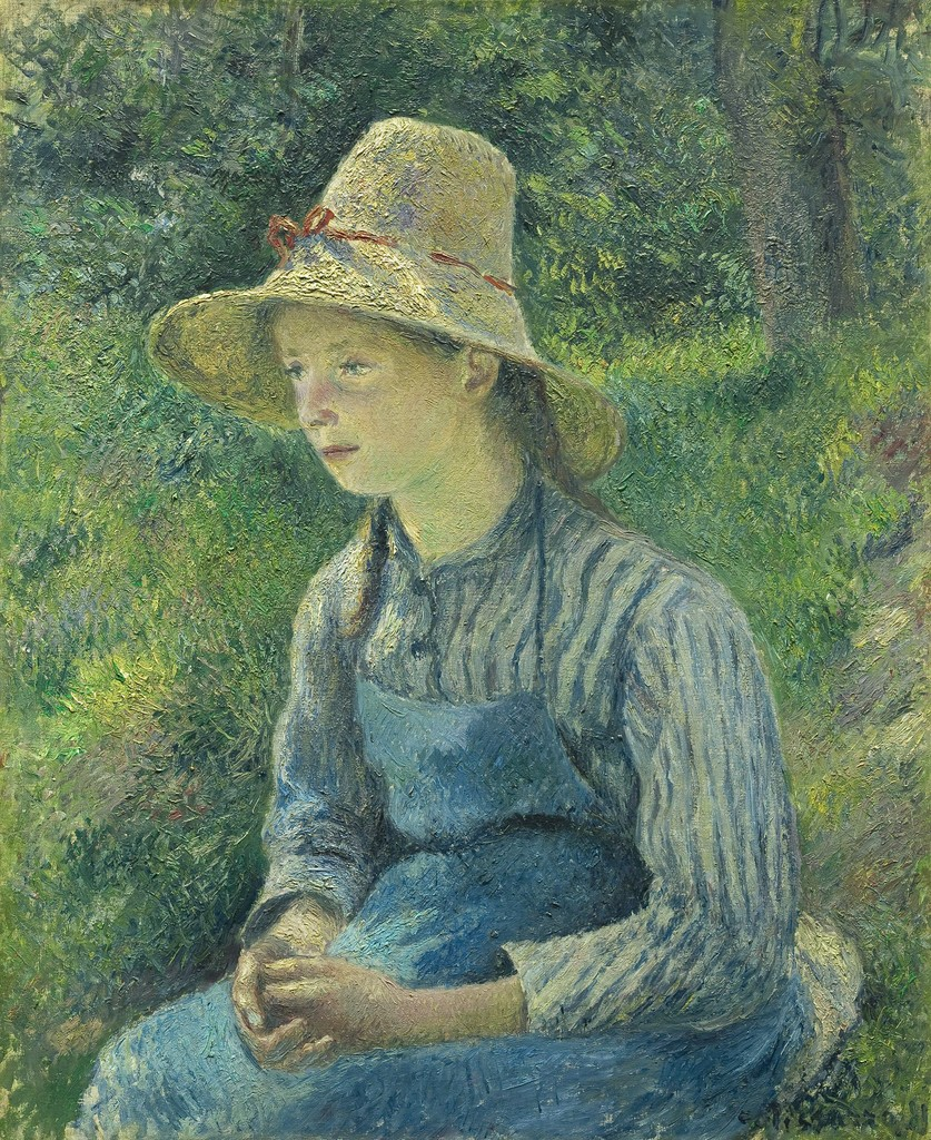 Image result for nga Camille Pissarro  A Peasant Girl in a Straw Hat  , c. 1892