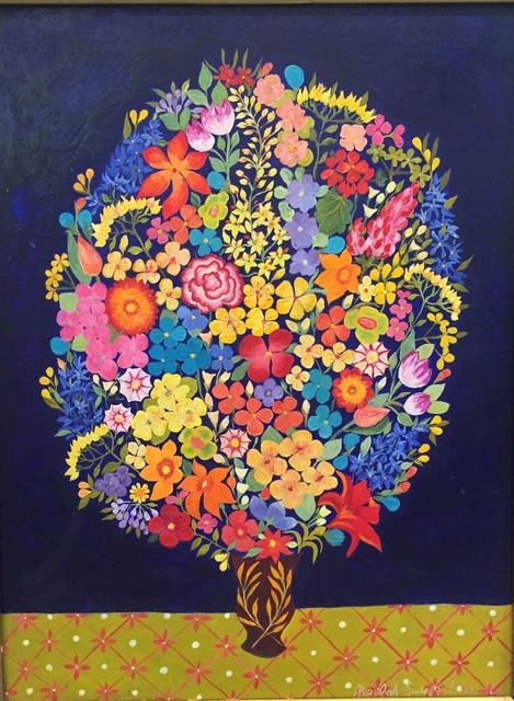 , 'Flowers on Blue,' 2016, Rebecca Hossack Art Gallery