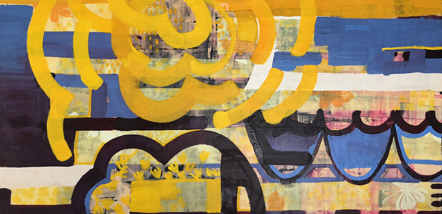 Amber George, 'Reverberate 2', 2020, Painting, Encaustic with ink and vintage fabric, Susan Eley Fine Art