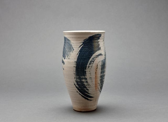 , 'Cylindrical vase, petalite, feldspar, and oak ash glaze with engobe brushwork,' , Pucker Gallery