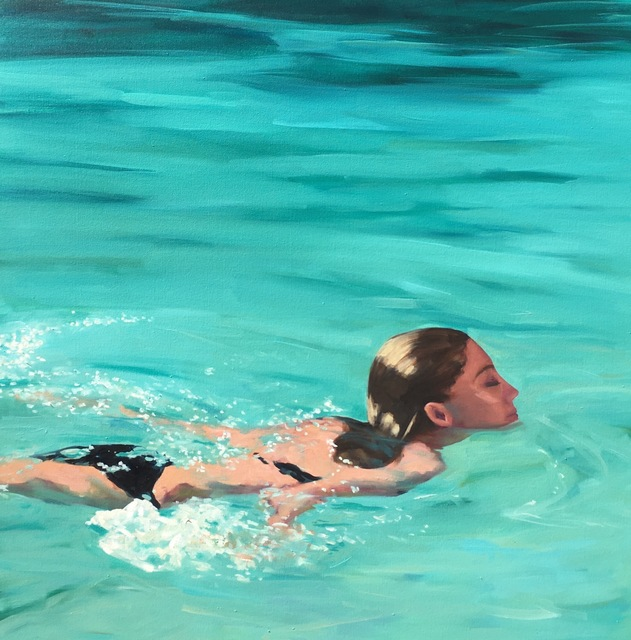 "T.S. Harris, '""Refreshing Swim"" Woman in Black Bathing suit Swimming in Teal Water', 2010-2018, Eisenhauer Gallery"