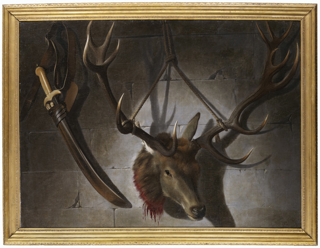 French School, c. 1750, 'A trompe-l'oeil with a sword and a stag's head', DICKINSON