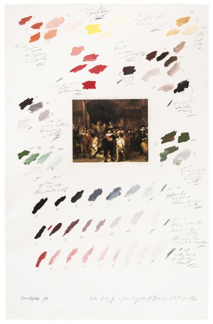 """, 'Estudio del color para """"La Ronda Nocturna"""" (Rembrandt),' 1974, Herlitzka + Faria"""